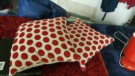 matching red cushions