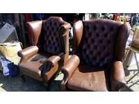 Chesterfield wing back chairs
