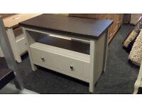 1 DRAWER 1 SHELF COFFEE TABLE TV STAND GREY/WALNUT VENEER