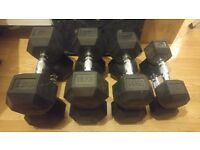 new 4 pairs of dumbells and rack for sale