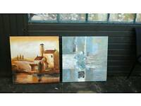 2x large oil paintings aprox 90x 90 cm nice
