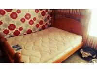 Solid pine double bed wity mattress