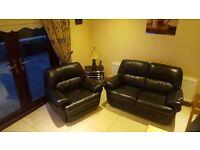 2 & 1 Black leather sofa