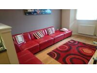 DFS Leather Kool Corner / sectional sofa. 5 sections (with clips to hold)
