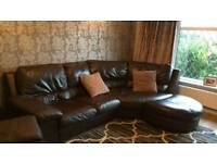 Italian leather corner sofa and chair with foot stool
