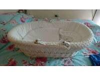 Gorgeous white Moses basket