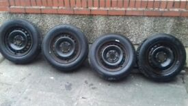 BMW SET OF 4 15 INCH STEEL WHEELS WITH TYRES