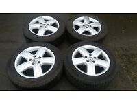 "GENUINE 2014 VW T6 TRANSPORTER 17"" THUNDER ALLOY WHEELS T32 T5 OEM FACTORY MATCHING GOODYEAR TYRES"