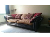 Santiago Brown Leather Sofa - 3 Seater High Quality - cost £1300 new
