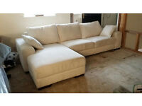 NEW Graded GRAND White Fabric Left Hand Corner Sofa Suite FREE LOCAL DELIVERY