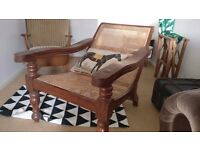 Large Anglo-Indian Teak Colonial Plantation Chair with swivel arms and caned seat