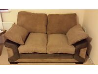 Brown Material Sofas - 3 seater and 2 seater sold as a pair