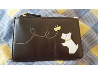 Cute RADLEY key purse. Black purse with grey/pale blue Scottie dog . Chain and key ring.