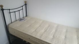 Single Metal bed frame with top quality mattress - can deliver locally