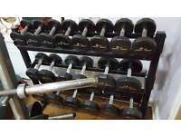 Commercial quality branded full set of 2kg to 20kg dumbbells by Iron Grip including 3 tier stand