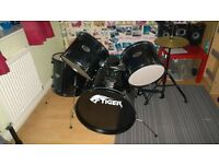 tiger full size drum kit (REDUCED FOR QUICK SALE, REASONABLE OFFERS CONSIDERED)
