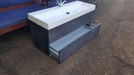 New Contemporary Bathroom sink wall mounted with 2 draws vanity unit basin