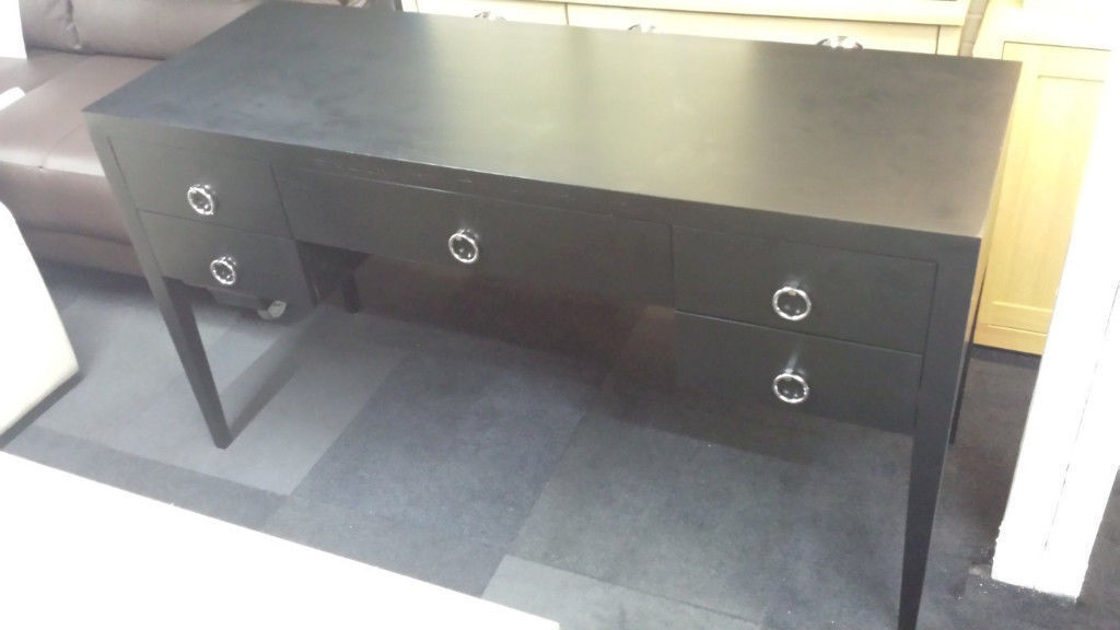 EX-DISPLAY BLACK WOODEN DRESSER/DESK CHROME HANDLES