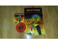 iron maiden - the number of the beast 7 inch red vinyl + poster 2005 mint