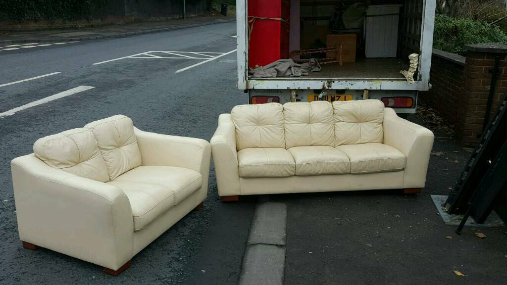 3+2 seater sofa in cream leather £145 delivered