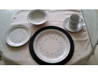 Grey two tone with central white flower stoneware dinner service