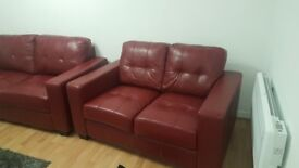Red leather couch for sals