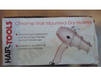 Chrome wall mount for hair dryer
