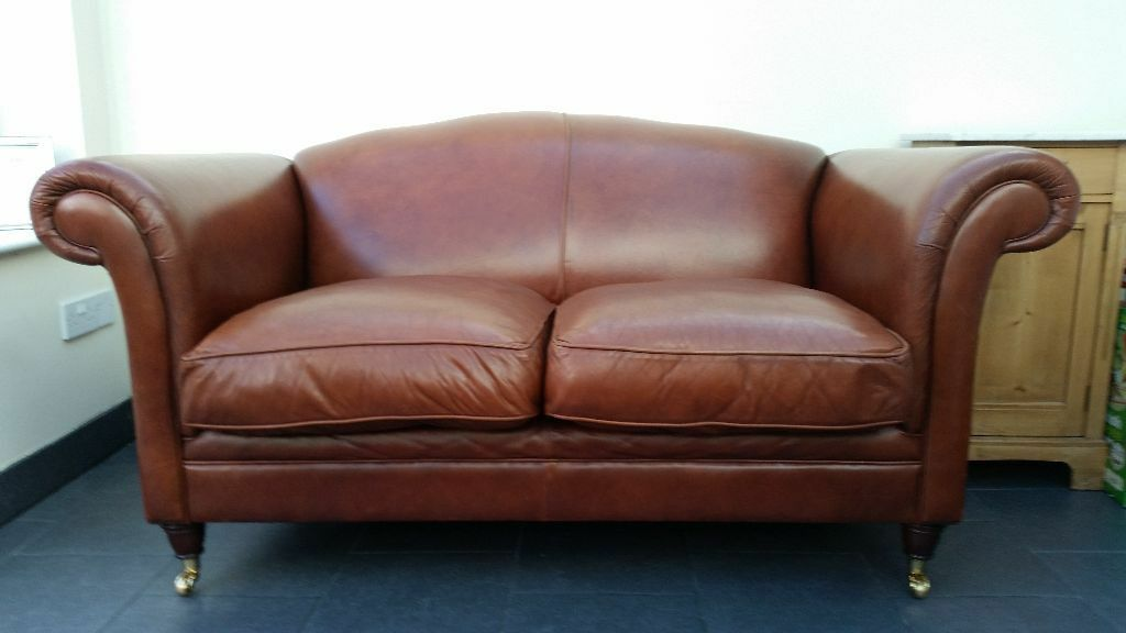Laura Ashley Gloucester Sofa Settee In Heritage Brown Leather Rrp 2100