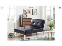 Longue Single Sofa Bed 1 Seater Couch Faux Leather Chair