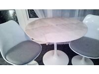 White marble top table and chairs