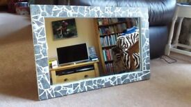 Stunning bespoke mosaic frame and mirror – unique - one of a kind