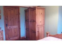 SOLID WOOD WARDROBE..GREAT CONDITION..OTHER MATCHING ITEMS,PLEASE SEE ALL PICS