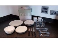 Dinner set (plates, mugs, glasses and cutlery)