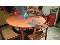 4 chair solid wood dining table