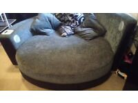 Round sofa corner chair with bluetooth speakers and ipod docking built in