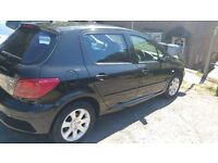 Peugeot 307hdi 104 diesel, 2004, black, 105k and £30 year road tax