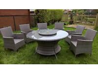 Rattan garden table and 6 chairs, table and parasol