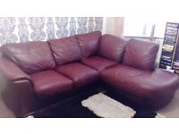 Oxblood leather corner sofa settee suite