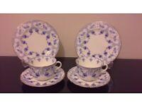 Art Deco Vintage China Tea Set for Two - Royal Doulton Fuschia - Wedding / Tea Party / Christmas