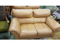 2 x 2 Seat Tan Leather Sofas