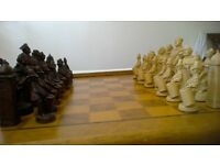 Wooden CHESS BOARD and carved pieces