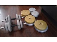 Set of solid dumbbells with extra weights. 51kg total weight
