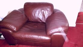 genuine leather chestnut corner suite and oversized chair
