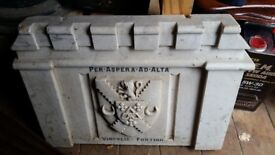 Stunning armorial heraldic marble plinth with carved arms and motto