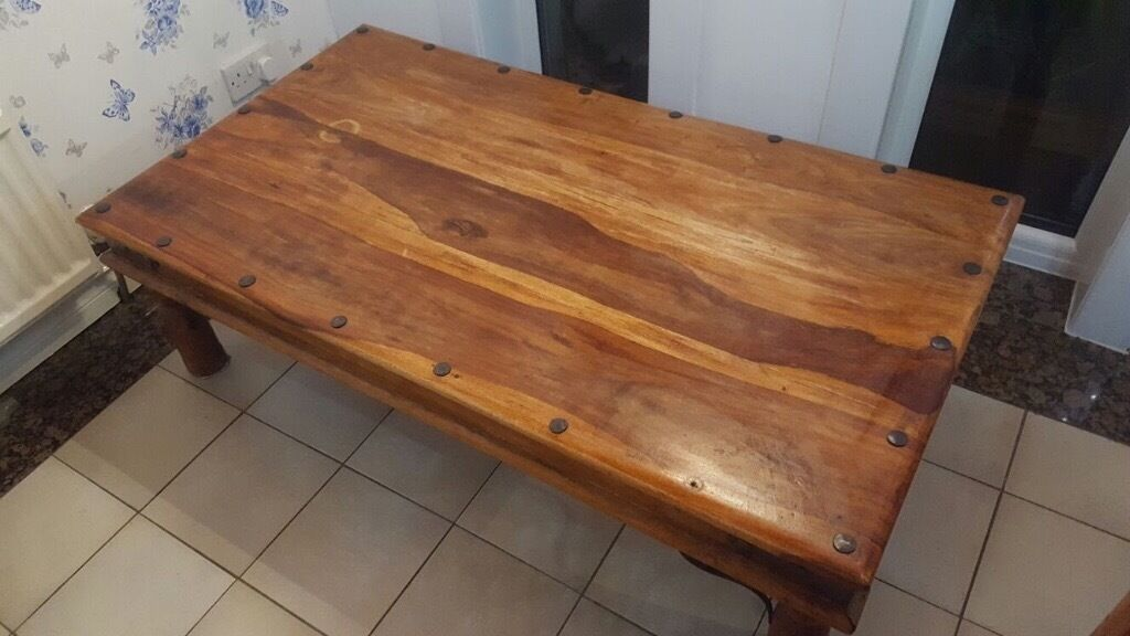 Large Low Wooden Coffee Table With Matching Dining Table And Chairs Available