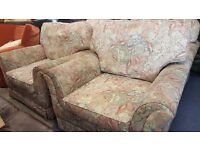 Two Floral Matching Arm chairs With Footstool - Great Condition