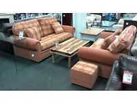 Sofa bed suite 3 + 2 upholstered in red and cream fabric - British Heart Foundation