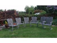 6 aluminium patio chairs in good condition. £45.00 but will split at £7.50 eachs