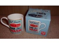 FULL SERVICE CAR WASH LARGE PORCELAIN MUG IN BOX, GREAT GIFT