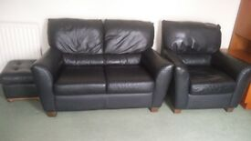 Leather Sofa with Chair and Pouf
